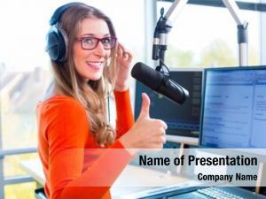 Radio female presenter station hosting