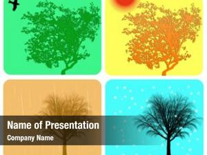 Colorful four season different actions