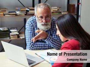 Businessman serious senior explaining something