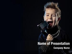 Boy emotional little singing into