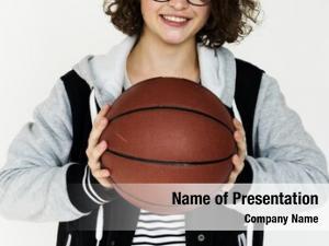 Basket ball sport girl holding