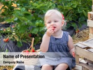 Eating little girl strawberry strawberry