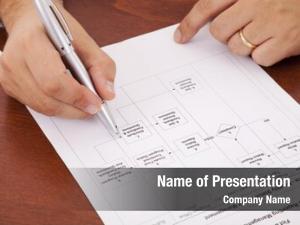 Analyzing businessman office flowchart document