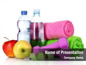 Apples towel, dumbbells, water bottle