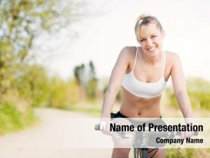 Riding sporty woman bicycle outdoor