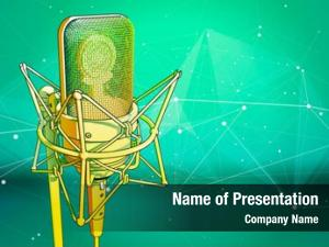 Green professional microphone technological surrounded