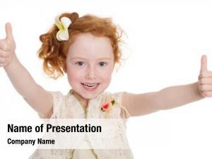 Little portrait happy girl gesturing