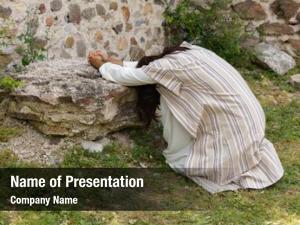 Praying jesus agony garden olives