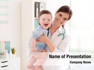 Cute female doctor little baby