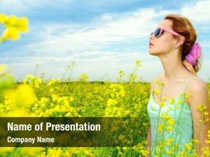 Girl happy smiling yellow meadow