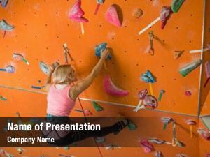 Rock girl engaged climbing climbing