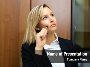Manager young female pensive expression