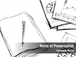 Business pencil sketch workspace
