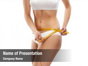Measuring slim woman waist white