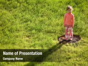 Standing little girl water drain