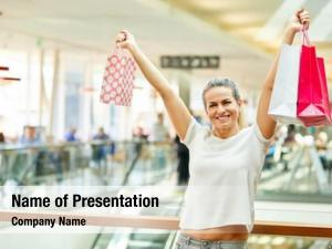Shopping young woman bags cheers