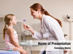 Girl doctor giving lollipop doctor