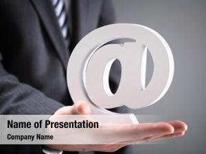 Email businessman holding symbol concept