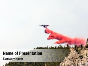 Dumping firefighting aircraft red fire