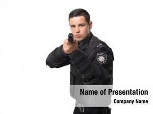 Officer armed police aims gun