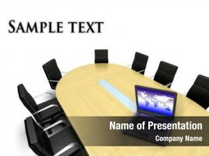 Laptop conference table world map