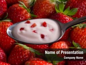Cream strawberry yogurt spoon blurred