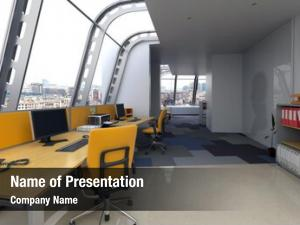 Interior modern office curved glass