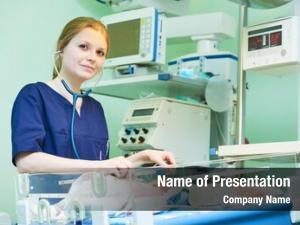 Portrait female doctor front intensive