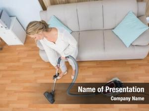 Cleaning disinterest woman her living