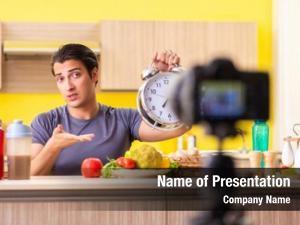 Blogging young man food supplements