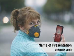Real woman wearing anti pollution, anti smog