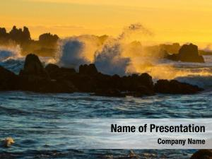 Crashing ocean wave sunset scene