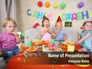 Little four happy kids eat