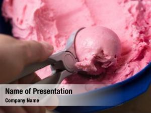 Pink hand makes ice cream