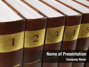 Encyclopedia five volumes books row