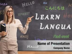 Teacher female language pointing blackboard