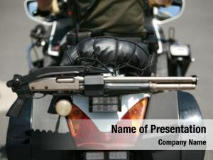 Shot motorcycle police gun attached
