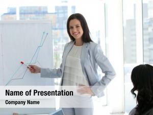 Sales businesswoman reporting figures her