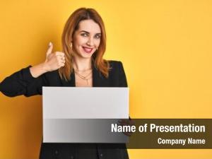 Caucasian redhead business woman holding