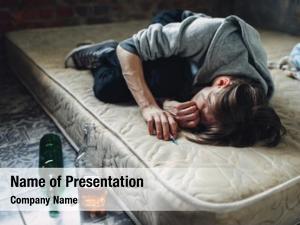 Bottle druggy sleeping, alcohol near