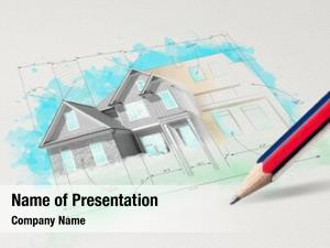 House drawing colored plan concept