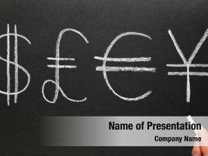 Symbols writing currency blackboard