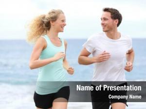 Jogging running couple exercising beach