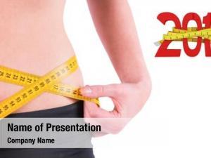 Measuring slim woman waist tape