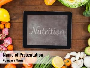 Digital nutrition against tablet surrounded