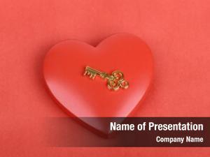 Heart golden key symbol red