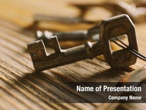 Keys bunch old wooden