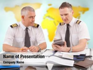 Pilots two airline preparing flight,