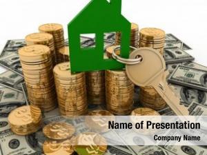 Key house symbol pile money