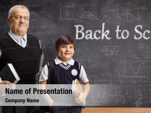 Teacher elderly male pupil front
